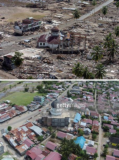 This combo shows a file photo taken on January 2 2005 of a damaged mosque in Teunom located in Aceh Jaya district with many surrounding houses wiped...