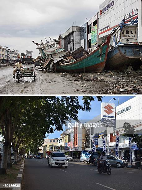 This combo shows a file photo taken on January 8, 2005 of two fishing boats beside a commercial building in Banda Aceh, in Aceh province on...