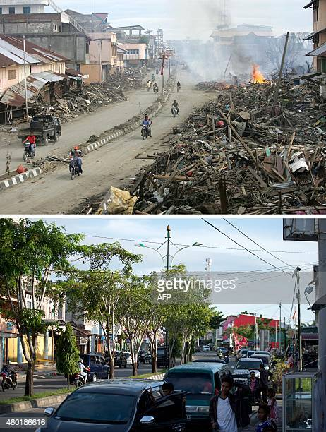 This combo shows a file photo taken on January 9 2005 of a street cleared but with huge pile of debris on either side in Meulaboh in Aceh province...