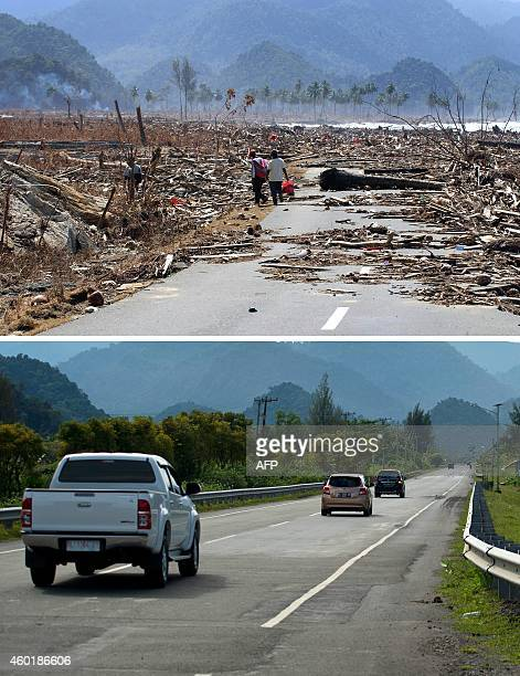 This combo shows a file photo taken on January 9 2005 of the impassable main coastal road covered with debris in Aceh Besar district in Aceh province...