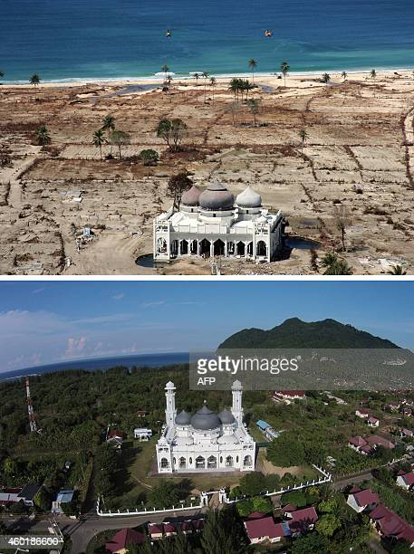 This combo shows a file photo taken with a telephoto lens on January 16 2005 of a partly damaged mosque in the Lampuuk coastal district of Banda Aceh...