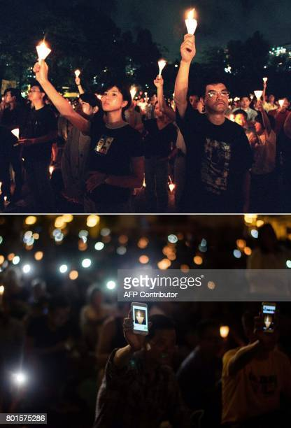 This combo shows a file picture taken on June 4 1997 of people waving candles during a vigil in Hong Kong's Victoria Park to commemorate the 1989...