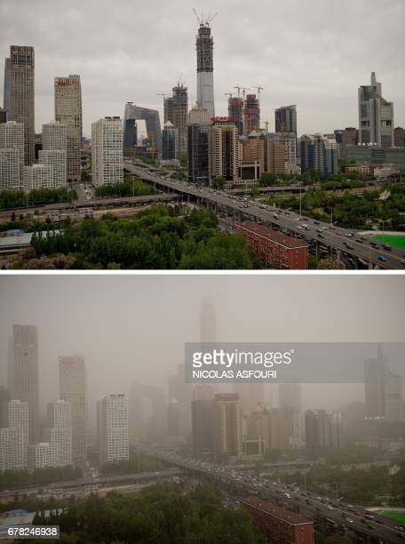 This combo shows an image of Beijing's central business district on April 25 2017 and the same view on May 4 2017 after the Chinese capital was hit...