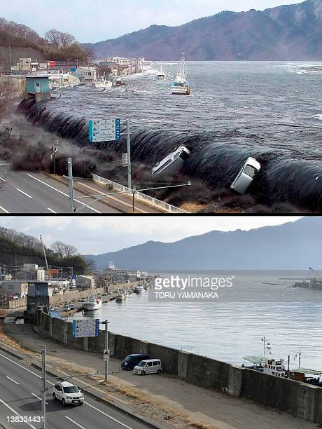 This combo shows an image taken by a Miyako City official on March 11, 2011 of the tsunami breeching an embankment and flowing into the city of...