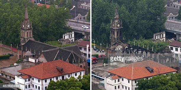 This combo shows an undated overhead view of Ningbo cathedral and another image taken on July 28 2014 after a fire gutted the structure in Ningbo in...