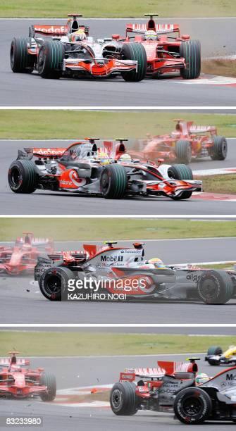 This combo shows Britain's Lewis Hamilton of McLaren-Mercedes and Brazil's Felipe Massa of Ferrari colliding on a chicane during Formula One's...