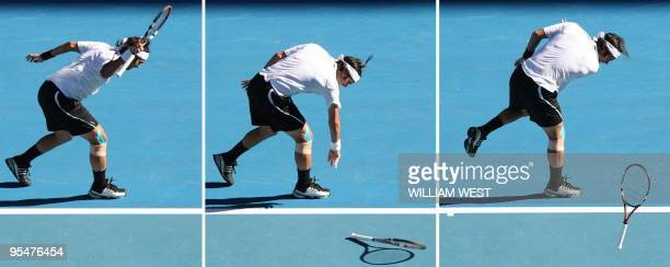 This combo shows Fernando Gonzalez of Chile throwing his racquet on the court in frustration in his game against Rafael Nadal of Spain during their...