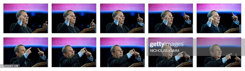This combo shows Israeli Defense Minister Ehud Barak describe how Israel's Iron Dome missile defense system works as he addresses the American Israel Public Affairs Committee (AIPAC) annual policy conference in Washington on March 3, 2013. AFP PHOTO/Nicholas KAMM