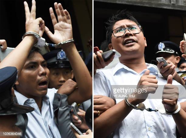 This combo shows journalists Kyaw Soe Oo and Wa Lone being escorted by police after their sentencing by a court to jail in Yangon on September 3 2018...