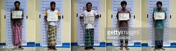 This combo shows photographs taken on May 17 2015 of five Bangladeshi migrants Muhammad Shajen Muhammad Ashaful Muhammad Forkhan Fokir Muhammad...