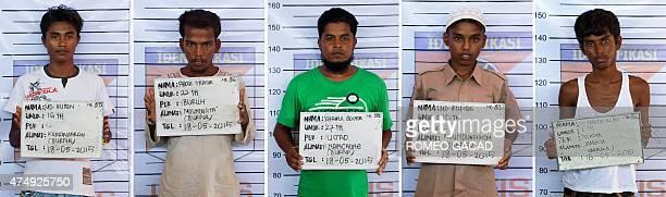 This combo shows photographs taken on May 18 2015 of five Rohingya men from Myanmar Muhammad Husein Abdul Syukur Khairul Boshor Muhammad Rofiqie...