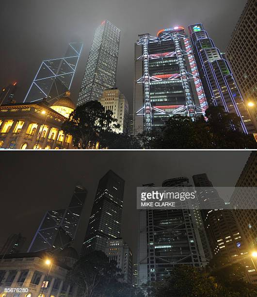 This combo shows the Bank of China building the Cheung Kong Centre the HSBC Building and the Standard Chartered Bank building and the colonial...