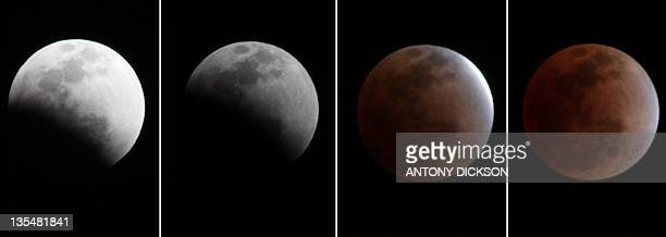 This combo shows the moon entering a total eclipse as seen in Hong Kong on December 10 2011 The total eclipse of the Moon turned the lunar surface...