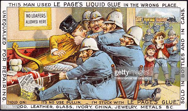 This comical trade card for glue is published circa 1880 in New York City