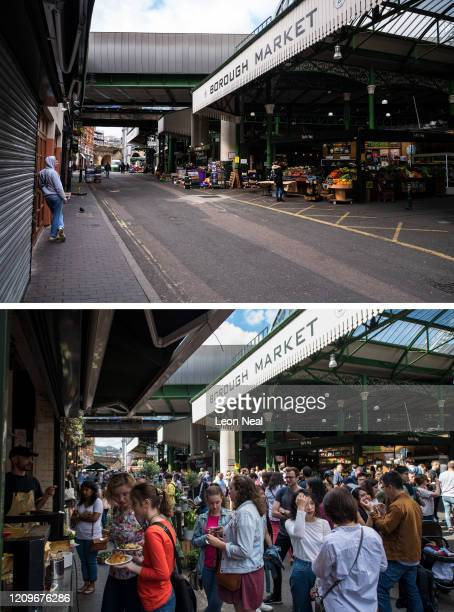 This composite image shows a comparison between The quiet shopping area of Borough Market is seen during the coronavirus lockdown on April 03 2020 in...