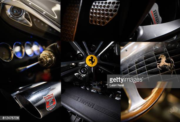 This composite image shows a detail view of the 2017 Ferrari GT4C Lusso and 1962 Ferrari Lusso as they are displayed at the Design Museum ahead of...