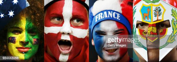 The composite has been made with the following images 47852277649223962676893617 This composite image shows a fan of each of the 4 national teams...