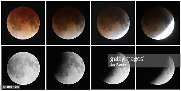 This composite image shows a sequence from bottom left to top left of the moon's transition during a total lunar eclipse on April 15 2014 in Miami...