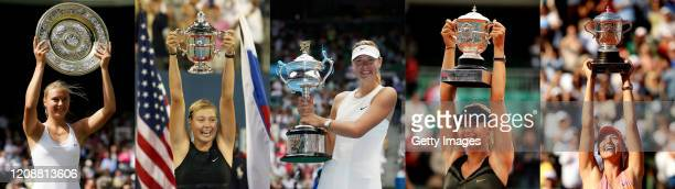 COMPOSITE OF IMAGES Image numbers 5102185579264790450226214 This composite image shows all 5 of Maria Sharapova's Grand Slam wins Wimbledon Lawn...