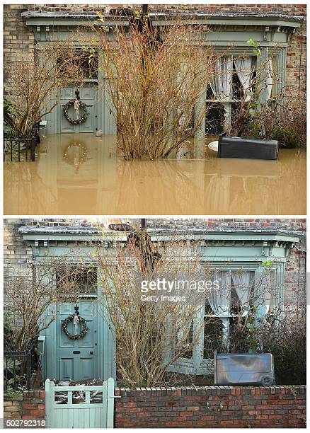 This composite image shows flood waters inundating a home in the Huntington Road area of York after the River Foss burst its banks on December 28 in...