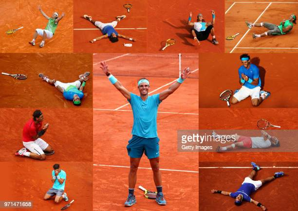 This composite image shows Rafael Nadal, celebrating his individual 11 French Open - Roland Garros wins from 2005 2007 2010 2012 2014 2018.