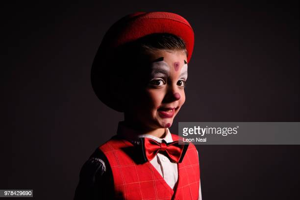 This composite image shows Ringmaster Norman Barrett of England Clown Charlie Alexis Horse rider Amanai Narynbay of Kazakhstan Popcorn salesperson...