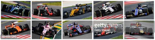 This composite image shows the 10 constructors competing in the 2017 Formula One Season which starts with the Australian Grand Prix on March 26th...