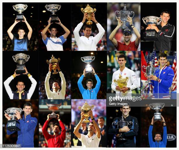 This composite image shows the 15 Grand Slam titles Novak Djokovic has won from his first the 2008 Australian Open to the 2019 Australian Open