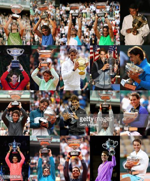 This composite image shows the 20 Grand Slam titles won by Rafael Nadal which include 1 Australian Open,13 French Open,2 Wimbledon and 4 US Open...