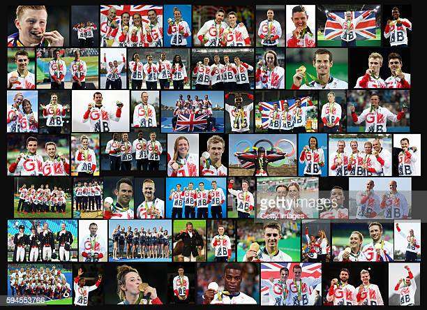 COMPOSITE IMAGE NUMBERS IN SPECIAL INSTRUCTIONS This composite image shows the 67 medal winners from Team GB won at the Rio de Janeiro 2016 Olympic...