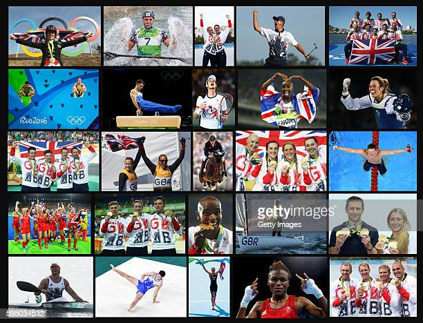 This composite image shows the athletes that won 27 Gold Medals for Team GB at the Rio de Janeiro 2016 Olympic Games on August 22, 2016 in Rio,...