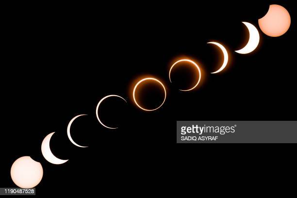 TOPSHOT This composite image shows the moon as it moves in front of the sun in a rare ring of fire solar eclipse as seen from Tanjung Piai in...
