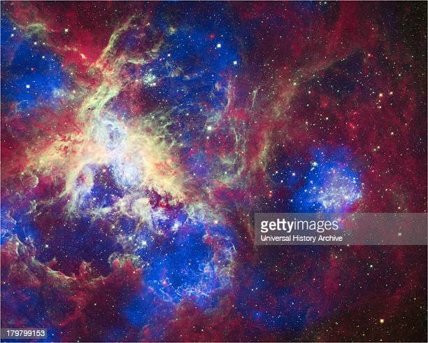 This composite of 30 Doradus, aka the Tarantula Nebula, contains data from Chandra, Hubble, and Spitzer. Located in the Large Magellanic Cloud, the...