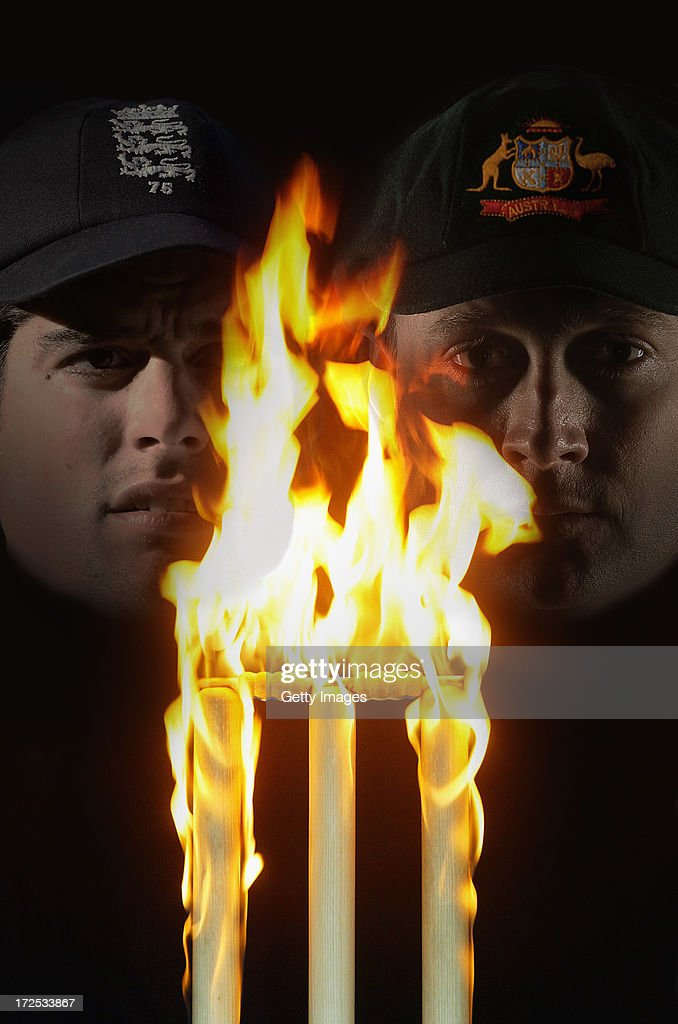 UNSPECIFIED - This composite photo illustration shows England captain Alastair Cook (L) and Australia captain Michael Clarke. The two captains will lead their respective countries in the upcoming Investec Ashes test match series, the first of which starts at Trent Bridge on July 10, 2013 in Nottingham, England.