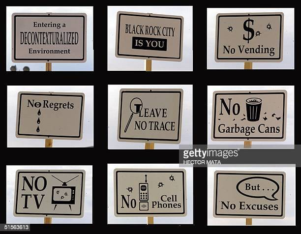 This composite photo shows signs posted at the entrance of the Burning Man Festival at Black Rock City desert in Nevada 29 August 2000 An estimated...