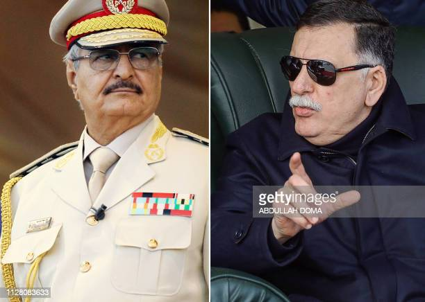This composition of file pictures shows Libya's unity government Prime Minister Fayez al-Sarraj during a graduation ceremony for new coastguard...