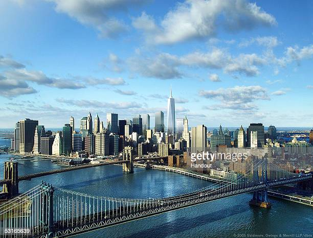 This computer generated rendering released by the Lower Manhattan Development Corporation on June 29 2005 shows the redesigned Freedom Tower by...