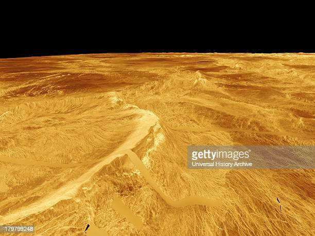 This computer-generated perspective view of Latona Corona and Dali Chasma on Venus shows Magellan radar data superimposed on topography.
