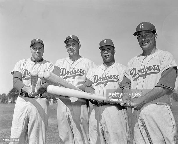 This concentration of batting power is composed of the four heavy sluggers of the Brooklyn Dodgers world champions From left are Duke Snider Gil...