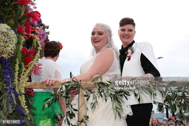 This couple were married on the parade route on February 17 2018 in Auckland New Zealand The Auckland Pride Parade is part of the annual Pride...