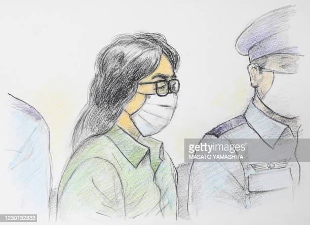 This court sketch drawing created by Masato Yamashita on September 30, 2020 shows Takahiro Shiraishi , at the first trial at Tokyo District Court...