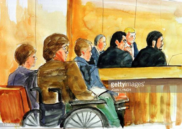 This courtroom artist's rendition shows Connie Murray the wife of Unabomber victim Gil Murray and his sister Jan Murray during jury selection in the...