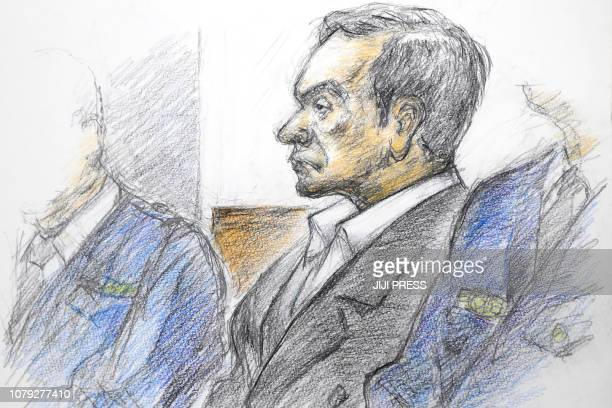 This courtroom sketch illustrated by Masato Yamashita depicts former Nissan chairman Carlos Ghosn attending his hearing at the Tokyo district court...