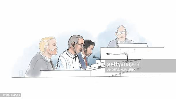 This courtroom sketch shows Iranian defendant Hamid Noury sitting in the District Court of Stockholm with his Defence Attorney Daniel Marcus on the...