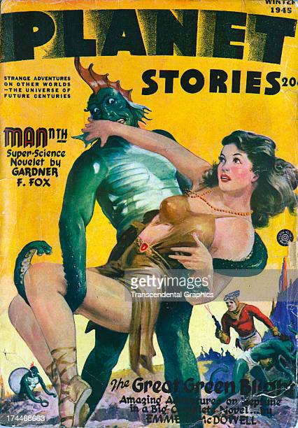 This cover for Planet Stories magazine with a damsel in the hands of a scary monster is produced for Winter 1945 in New York City