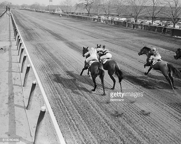 This creative photo by Herb Scharfman concentrates on the flying hooves and whisking tails of the horses after they had already passed by