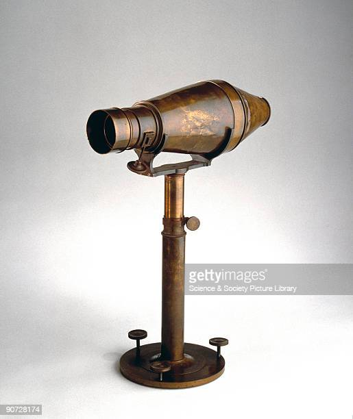 This curiouslyshaped camera for the daguerreotype process was introduced by Peter Wilhelm Friedrich Voigtlander in 1841 The focusing screen was...