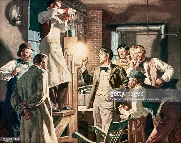 This Dean Cornwell painting depicts Thomas Edison and his associates testing a new carbonized thread lamp in their Menlo Park laboratory