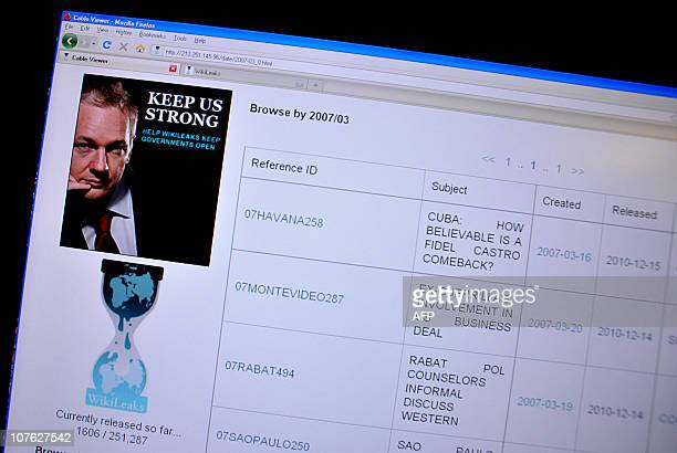 This December 16 2010 image of the Wikileaks internet site shows the front page of a leaaked document discussing the health of Cuban leader Fidel...