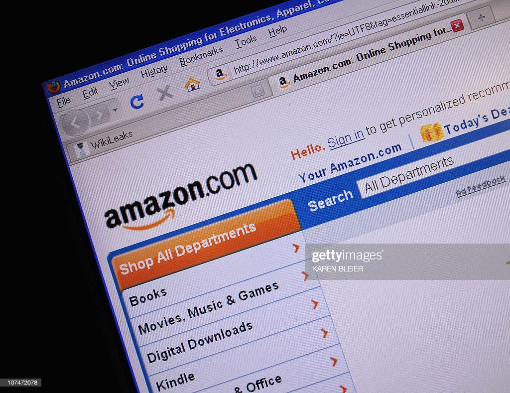 This December 9, 2010 photo shows the internet site of Amazon.com. After taking down the websites of Visa, Mastercard and others, supporters of WikiLeaks threatened Thursday to knock Amazon.com offline. 'Anonymous,' the loose-knit group of hackers behind the cyber attacks, announced an assault on the Amazon website for 11:00 am (1600 GMT) as part of what they are calling 'Operation Payback.' AFP PHOTO/Karen BLEIER